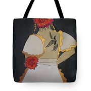 Lady With Flowers Tote Bag