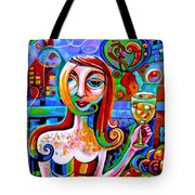 Girl With Glass Of Chardonnay Tote Bag