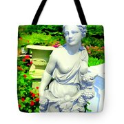 Girl With Grapes In Garden Tote Bag