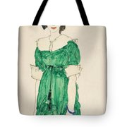 Girl With Green Dress Tote Bag