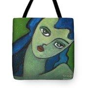 Girl With Green Eye Tote Bag