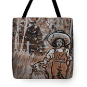 Girl With Hat And Dog Historical Vignette Tote Bag