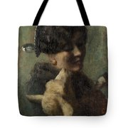 Girl With Lamb In Her Arms Tote Bag