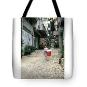 Girl With Laundry Basket Tote Bag
