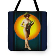Girl With Leaves Tote Bag