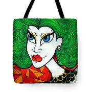 Girl With Lush Green Hair. Tote Bag
