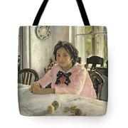 Girl With Peaches Tote Bag by Valentin Aleksandrovich Serov