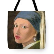 Girl With Pearl Earring Of Vermeer Tote Bag