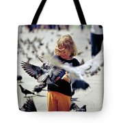 Girl With Pigeons Tote Bag