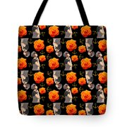 Girl With Roses And Anchors Black Tote Bag