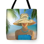 Girl With Summer Hat Tote Bag