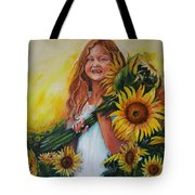 Girl With Sunflowers Tote Bag