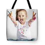 Girl With Victory Sign Sticking Out Her Tounge Tote Bag