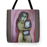 Girl With White Cat Tote Bag