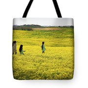 Girls Walking In The Field Tote Bag