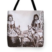 Girls With Pronghorn Fawns Historical Vignette From River Mural Tote Bag