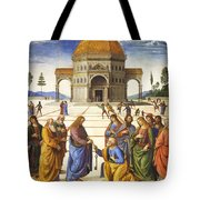 Giving Of The Keys To Saint Peter Tote Bag
