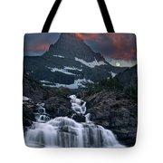 Glacier Morning Waterfall And Moonset Tote Bag