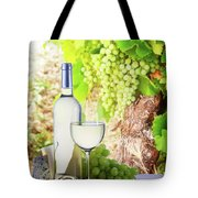 White Wine In Vineyard Tote Bag