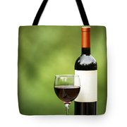 Glass Of Red Wine Outdoors Ready To Enjoy Tote Bag