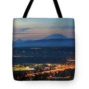 Glenn L Jackson Bridge And Mount Saint Helens After Sunset Tote Bag