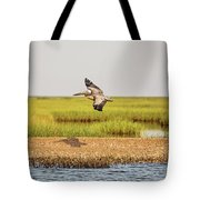 Gliding Over A Shell Island Tote Bag