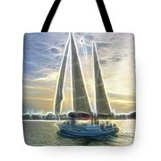 Glimmering Sailboat Tote Bag by Ella Char