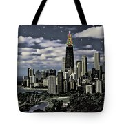 Glittering Chicago Christmas Tree Tote Bag