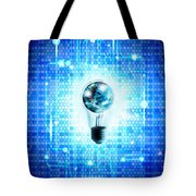 Globe And Light Bulb With Technology Background Tote Bag by Setsiri Silapasuwanchai