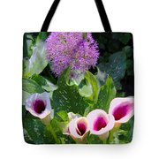 Globe Thistle And Calla Lilies Tote Bag