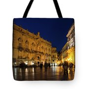 Glossy Outdoor Living Room - Passeggiata On Piazza Duomo In Syracuse Sicily Tote Bag