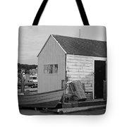 Gloucester Boathouse In Black And White Tote Bag