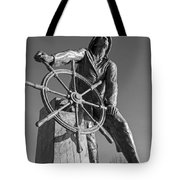 Gloucester Fisherman's Memorial Statue Black And White Tote Bag