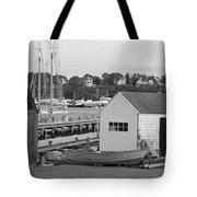 Gloucester Harbor Scene In Black And White Tote Bag