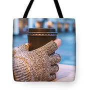 Gloved Hands Holding Coffee Cup Tote Bag