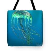 Glow Green Jellyfish Tote Bag