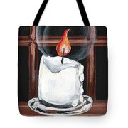 Glowing Candle In Window Tote Bag