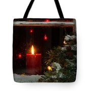 Glowing Christmas Candle In Frosted Home Window Tote Bag