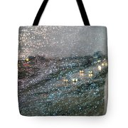 Glowing Raindrops In The City Tote Bag