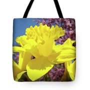 Glowing Yellow Daffodils Art Prints Pink Blossoms Spring Baslee Troutman Tote Bag
