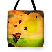 Gnome And Seven Butterflies Tote Bag