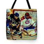 Goalie  And Hockey Art Tote Bag by Carole Spandau