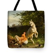 Goat Kid And A Hen Tote Bag