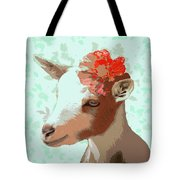 Goat With Flower Tote Bag