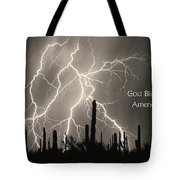 God Bless America Bw Lightning Storm In The Usa Desert Tote Bag by James BO  Insogna