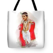 God Krishna Style Watercolor Tote Bag
