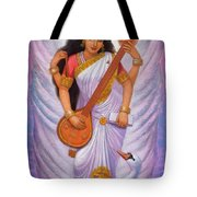 Goddess Saraswati Tote Bag by Sue Halstenberg