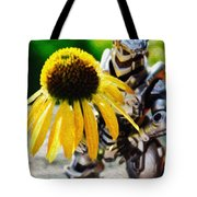 Godzilla With A Yellow Flower Tote Bag