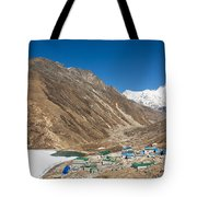 Gokyo Village And The Frozen Lake Tote Bag