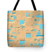 Gold And Aqua Mid-century Modern Tote Bag